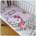Promition! kitty mickey Bebê Lençol Berço Bumper Set Folha de jogo de cama do bebê, 120*60/120*70 cm