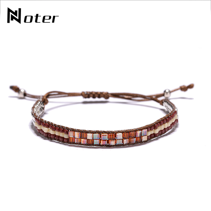 Noter Bohemia Ethnic Hand Braided Small Acrylic Beads Bracelet Charms Adjustable Women Girls Handmade Rope Braslet For Femme