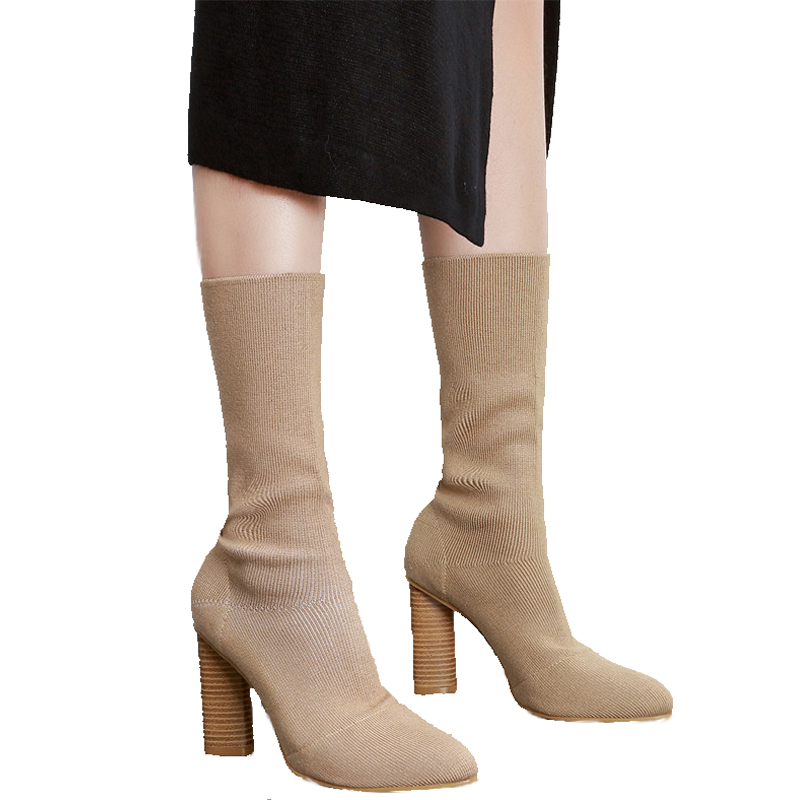 Womens High Heel Boots Fashion Stretch Fabric Sock Booties Chunky High Heel Shoes Woman Pointed Toe Boots Casual Ankle Boots fashion kardashian ankle elastic sock boots chunky high heels stretch women autumn sexy booties pointed toe women pumps botas