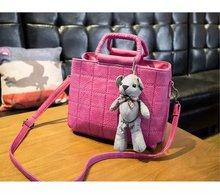 2016 New Arrival Fashion PU Leather Women Handbag With Bear Toy Elegant Ladies Shoulder Bag Messenger Bag