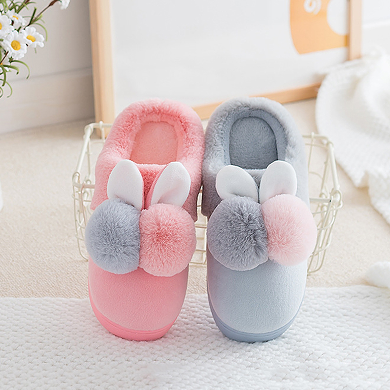 Cute Rabbit Indoor Slipper Women Shoes Winter Warm Plush Home Slippers With Fur Flat Platform Room Slipper Female Shoes AVT33