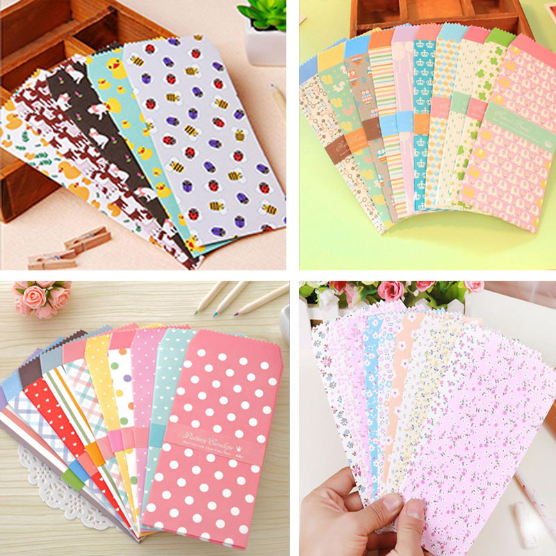 Envelopes Baby Gift Cards Colored Paper Envelopes 10pc New Cute Cartoon Colorful Paper Star Point