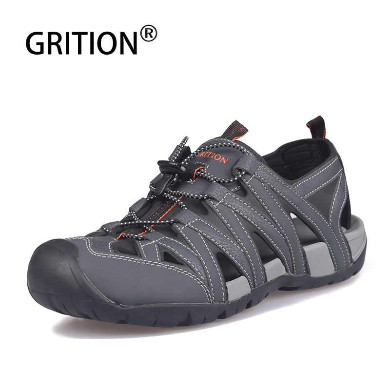 GRITION Men Sandals Summer Pu Leather Clogs Male Flat Sport Outdoor Beach Shoes Comfort Breathable Soft Lazy Walking Shoes 2020