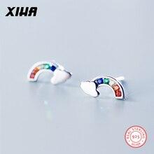 XIHA 925 Sterling Silver Earrings Minimalist Rainbow CZ Zircon Crystal Small Stud Korean Earings Women Jewelry