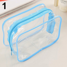 Clear Transparent PVC Travel Cosmetic Make Up Toiletry Bag Zipper Pouch