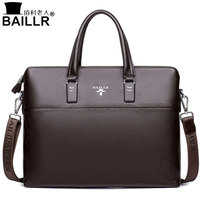 BAILLR 2017 Men Tote Bags Genuine Leather Business Bag Fashion Handbags Male Laptop Briefcase Crossbody Bags