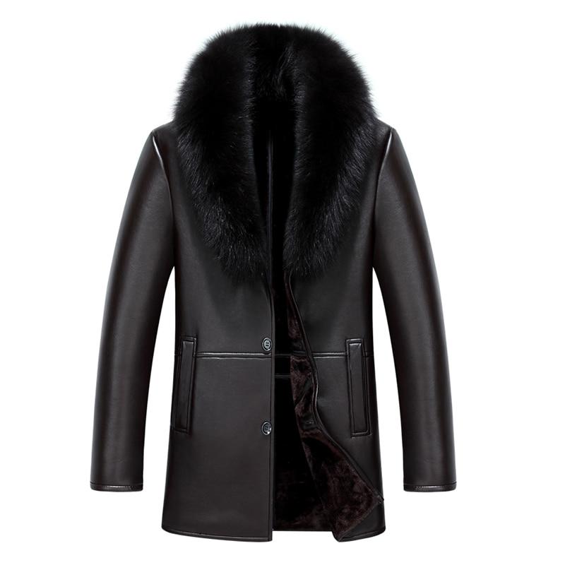2020 New Arrival Men Leather Coat Faux Sheepskin Coat Overcoat Winter Leather Coat Fur Lined Men Leather Jacket Fox Fur Collar