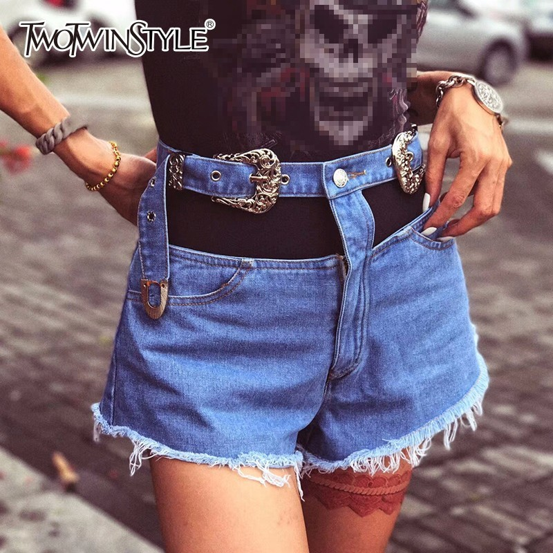 TWOTWINSTYLE Sashes Shorts For Women Denim High Waist Patchwork Tassel Bodycon Mini Trousers Female Summer Fashion New Clothing