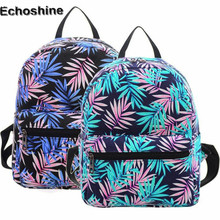 2016 hot sale Canvas Women Backpack Mini Acacia leaf Prined Double Shoulder Bag School Rucksack Mochila Mujer gift wholesale