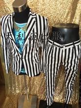 S-5XL 2017 Men's clothing New fashion black white stripe suit singer costumes stage formal dress Men Slim plus size Suits