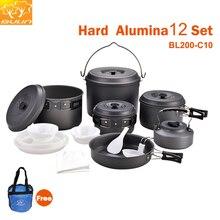 طقم أدوات طهي للتخييم 12 شخص طقم طهي للتنزه في الخارج وعاء للتنزه BL200 C10
