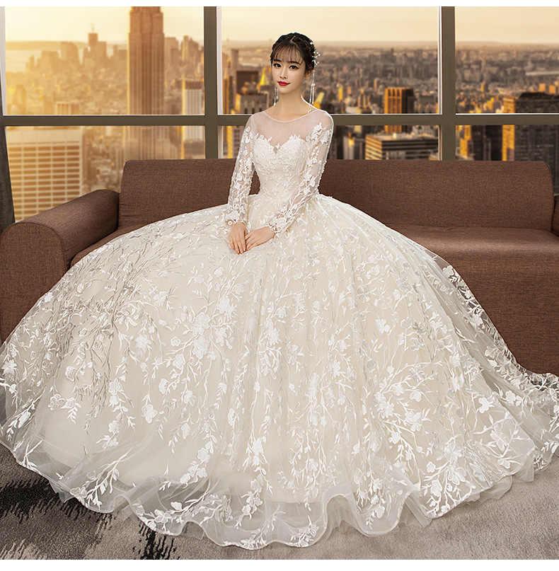 b0b139e66 ... Элегантное кружевное платье принцессы для свадебной вечеринки 2019  Белое Кружевное Свадебное бальное платье Robe de mariée ...