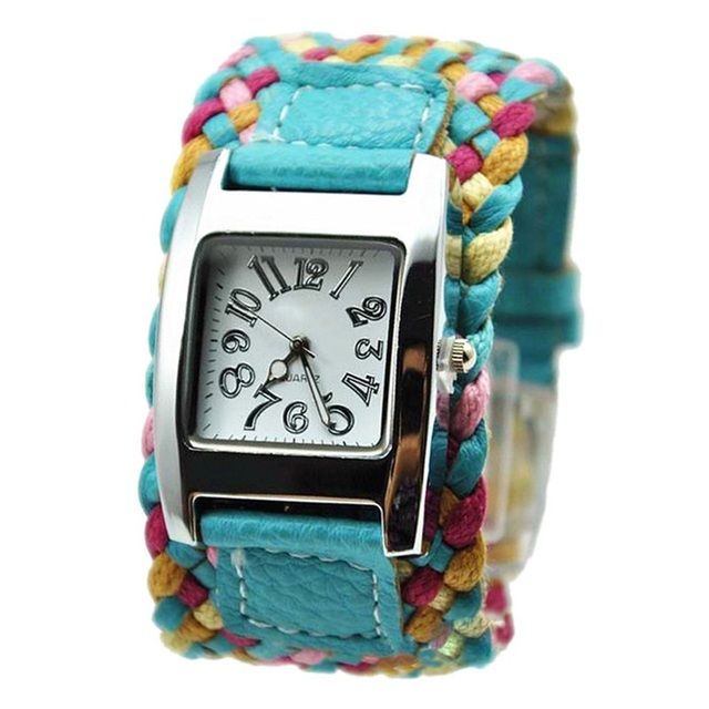 New New Fashion Korea Rope Watch Braided PU Leather Cord Bracelet Watch Lady Des