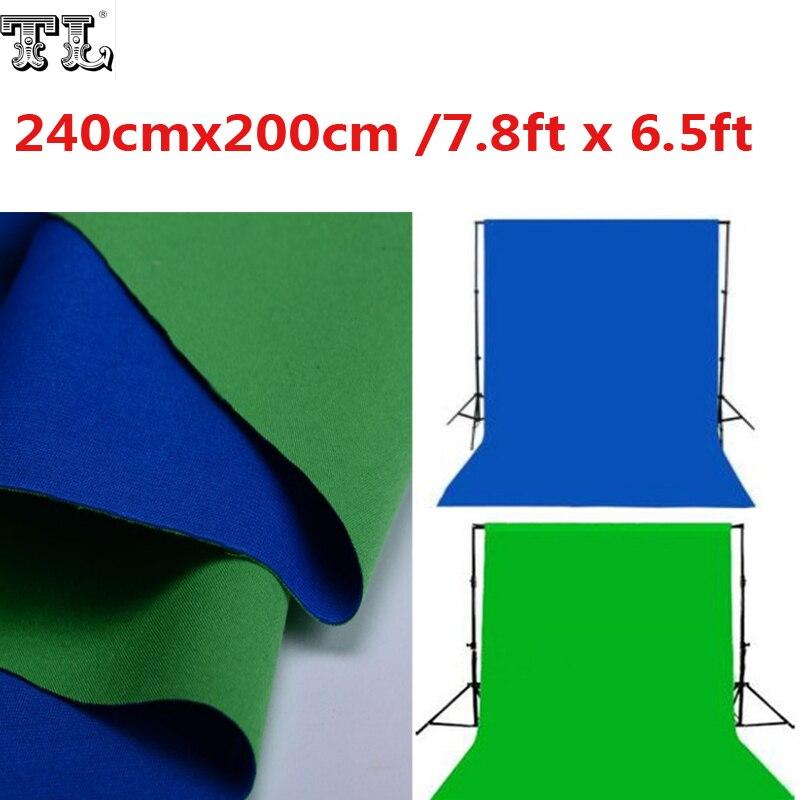 2.4x2 M Double 2 Face tissu 7.8ft x 6.5ft fond vert & bleu noir & blanc coton Chroma key mousseline fond d'écran matériel