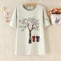 Cat harajuku estilo de dibujos animados impreso camisetas 2017 nuevas mujeres de verano de manga corta de algodón top tees vogue chicas amantes camisetas