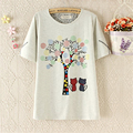 Harajuku Style Cartoon Cat printed T Shirts 2017 Women New summer Short Sleeve Cotton top tees Vogue girls Lovers t-shirts