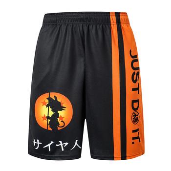 2019 nowy Dragon Ball luźne spodenki sportowe męskie spodenki fajne koszykówka lato krótkie spodnie gorąca sprzedaż spodnie dresowe bez pasa tanie i dobre opinie Na co dzień Szorty Poliester Kolano długość Sznurek Drukuj REGULAR PATTERN Dragon Ball 3D Print Shorts S M L XL XXL