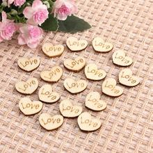 50pcs Wooden Love Heart Shape Wedding Table Scatter Decoration Wood Crafts DIY