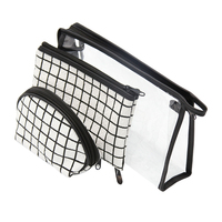 Wulekue PVC 3 Pieces/set Cotton Cosmetic Bag Portable Travel organizer make up Jewelry Bag