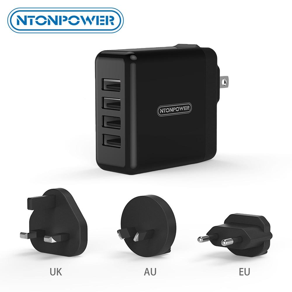 NTONPOWER 4 USB Universal-Ladegerät für Mobiltelefone Reiseadapter UK / EU / AU / US 34W USB-Wandladegerät für Tablet / iPhone / Android-Handy