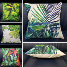 Sofa Decorative Tropical Butterfly Plants Green Leaves Printed Cushion Cover Cotton Linen Living Room Home Square Pillow Case цены