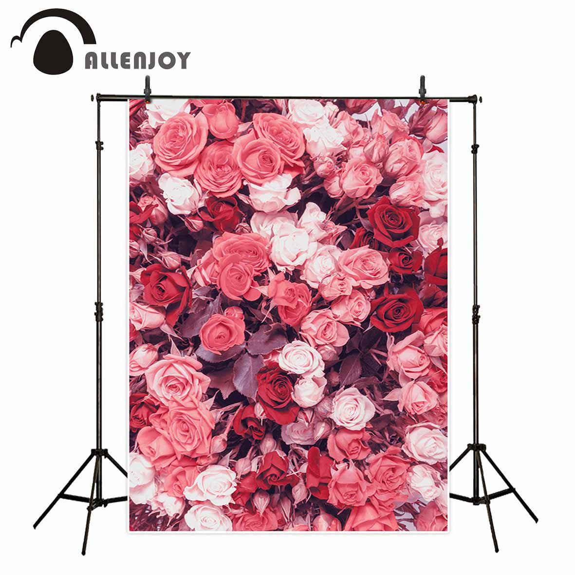 Allenjoy photographic studio background Pink White Rose Garden Romantic Nature new arrivals vinyl photocall photography backdrop