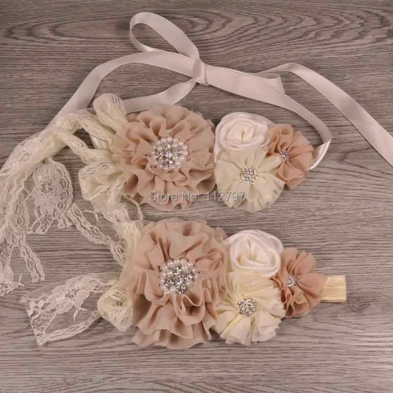 1set/lot  Chiffon Flower Sash Matching Baby Headband Satin Rosette Flower Belt For Kids Maternity Sash