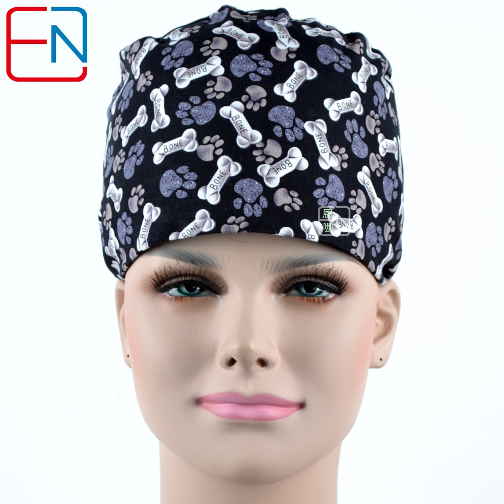 Hennar Black Print Doctor Scrub Caps Women Adjustable With Sweatband Surgical Hats Cap Cotton Hospital Clinic Surgical Caps