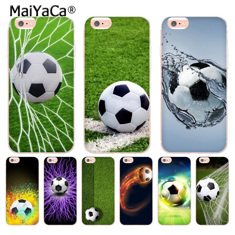 Laumans Fire Football Soccer Ball Field Transparent Cover Case for Apple iPhone 8 7 6 6S Plus X 5 5S SE 5C 4 4S Cover