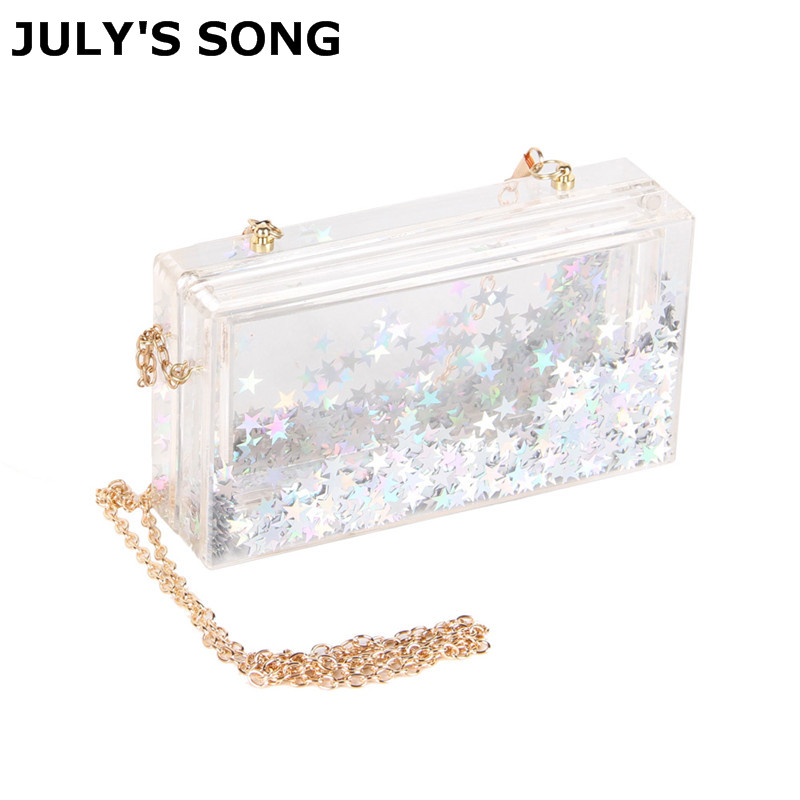 JULY'S SONG New Clear Acrylic Evening Bag Women Party Clutch Box Handbag With Chain Bolsa Purse Luxury Clutch Glitter Box big silver glitter cherise resin clutch bag acrylic glitter clutch bags fashion women flap shoulder messenger acrylic box clutch