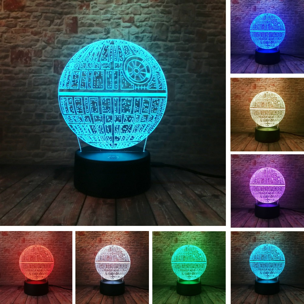 2017 Force Awakens ! Multi-colored Death Star Table Lamp 3D Bulbing Light Touch Switch Gifts for Wars Fans
