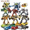 Гоночный автомобиль блоки серии Technic City Супер гонщики Трансформеры Робот строительные блоки игрушки для детей