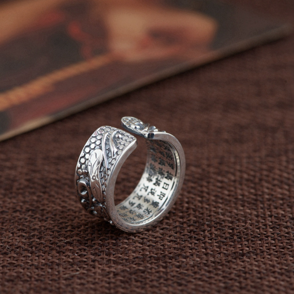 BALMORA Real 999 Pure Silver Lotus Flower Buddhism Sutra Open Rings For Women Men Gift Religious Retro Fashion Jewelry Anillos