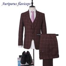 Брендовые мужские костюмы бордовые твидовые свадебные костюмы для жениха плюс размер 3 шт(куртка+ жилет+ брюки) строгий костюм для мужчин