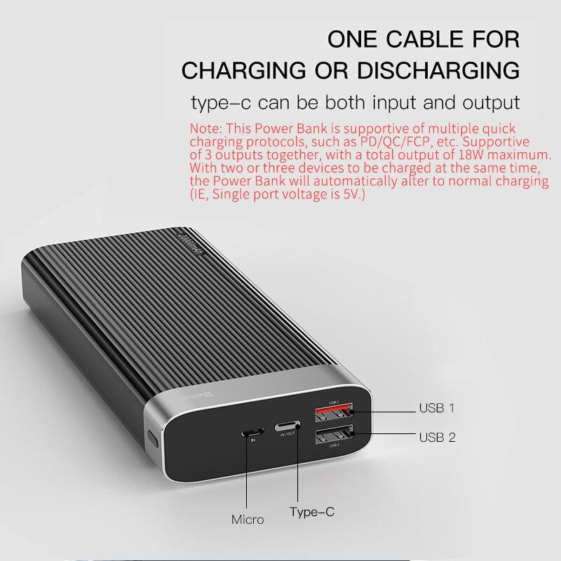 Baseus 20000 mAh charge rapide 3.0 batterie externe led Affichage Double USB type C PD Rapide De Charge batterie externe Pack banque d'alimentation de chargeur - 6