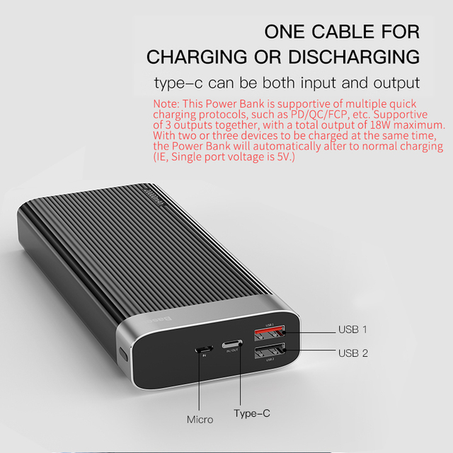 Baseus 20000mAh Quick Charge 3.0 Power Bank 20000 mAh Type C PD QC3.0 Portable External Battery Charger Powerbank For Xiaomi Mi