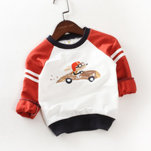 2017 spring and autumn children's baby cartoon car long-sleeved T-shirt boys and girls lovely shirts kids tops tees
