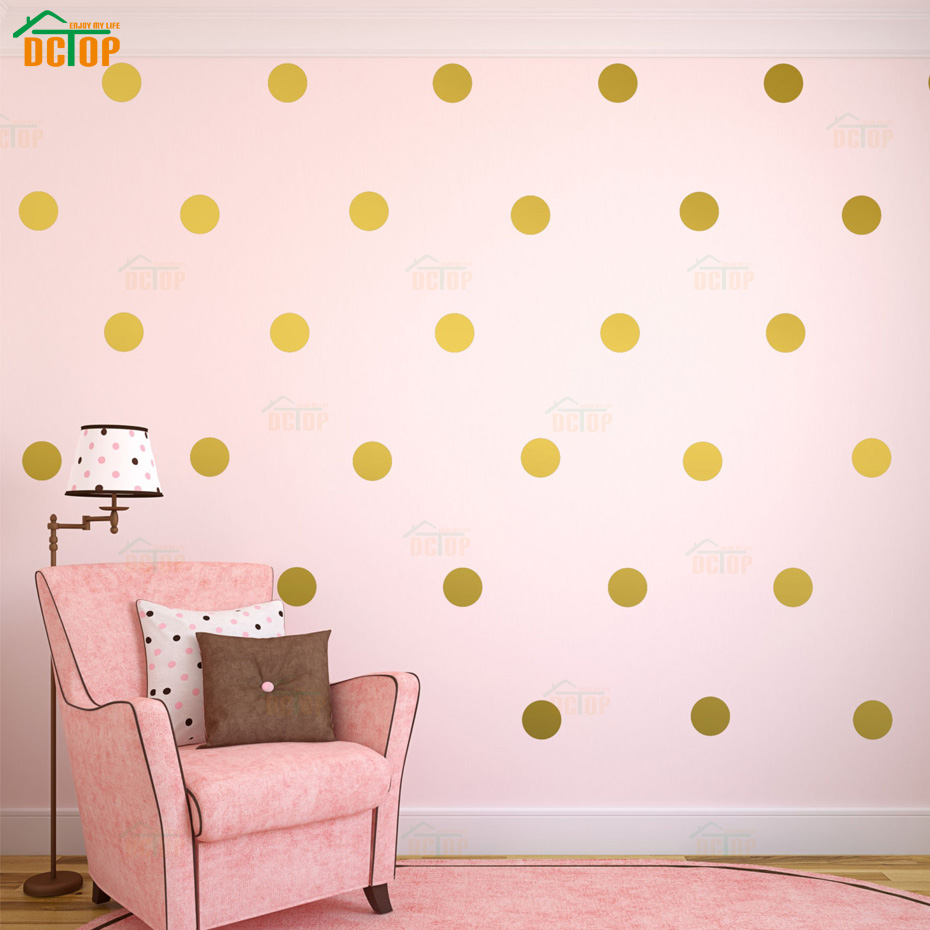 54pcs/44pcs/18pcs Gold Silver Polka Dots Wall Sticker Nursery Kids Rooms Children Wall Decals Home Decor DIY Art Wall Decoration