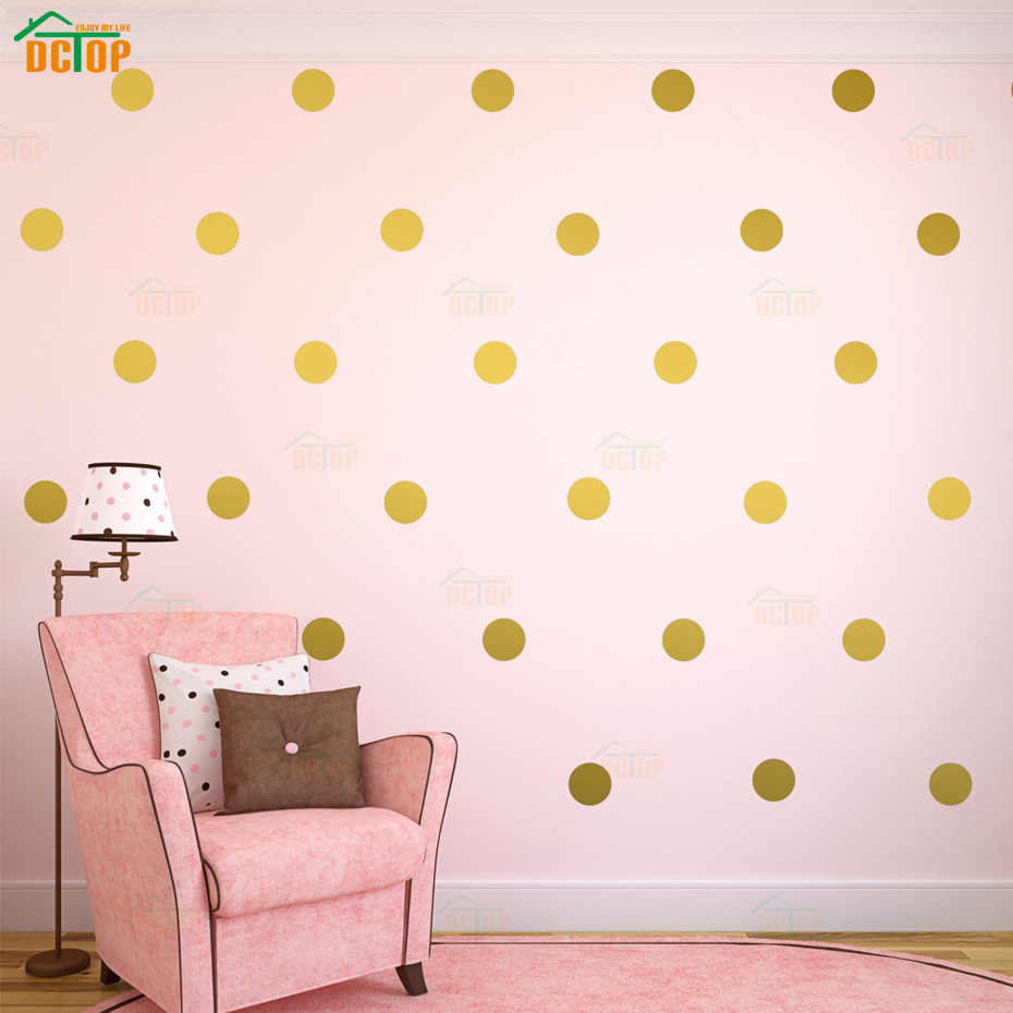 54pcs/44pcs/18pcs Gold Silver Polka Dots Wall Sticker Nursery Kids Rooms Children Wall Decals Home Decor DIY Art Wall Decoration