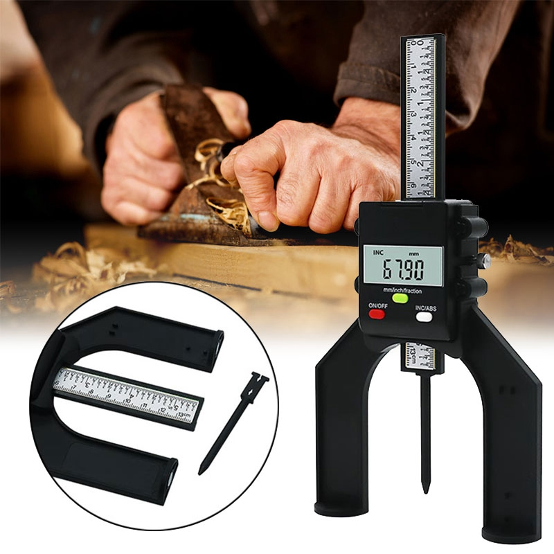 Medidor de Profundidade Medidor de Profundidade do Passo Magnético em pé Carpintaria Digital Eletrônico Profissional do Passo Lcd Auto 0-80mm