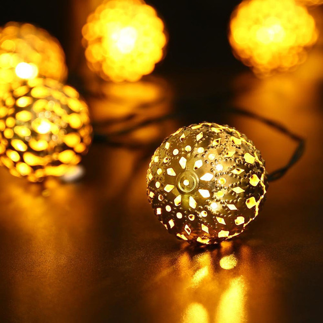 LED Moroccan Ball Solar String Light Fairy Globe Lantern Light Decorative Lighting for Home,Garden,Patio,Lawn,Path,Party,Holiday