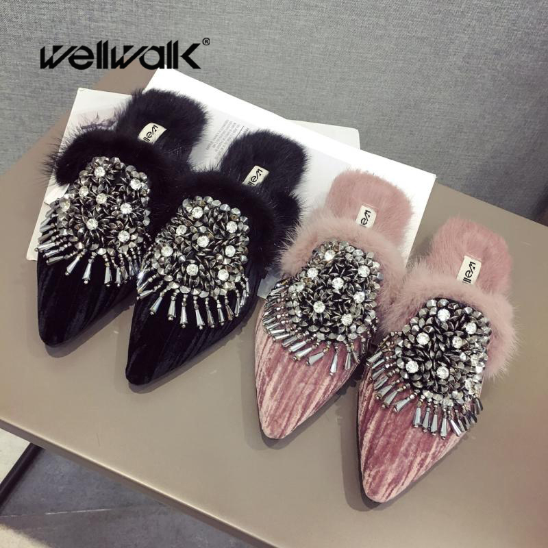 Corduroy Fur Slippers Women Furry Mules Fringes Rivets Sliders Shoes Ladies Floral Fluffy Mules Fenty Beauty Home Slides Autumn