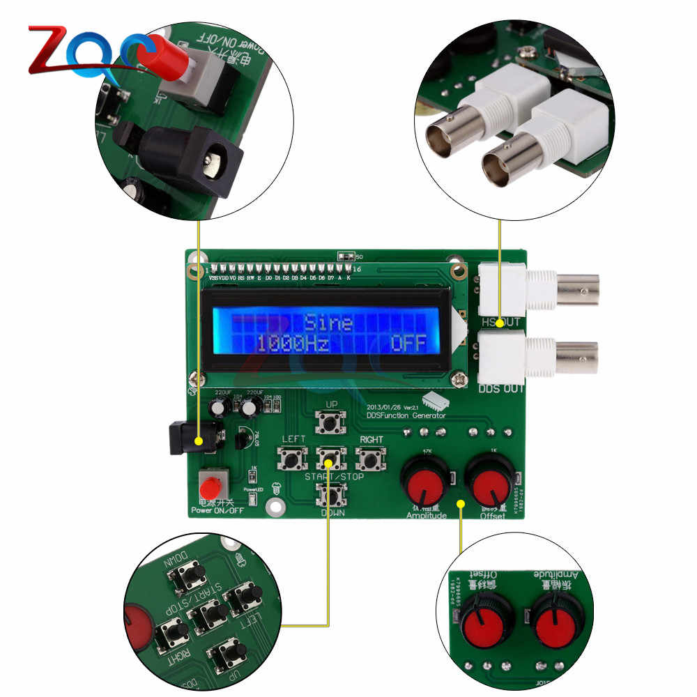 DDS Function Signal Generator Module Sawtooth Triangle Wave Sine Square  Sawtooth Wave Kit 1Hz-65534Hz DC 7V-9V LCD Display