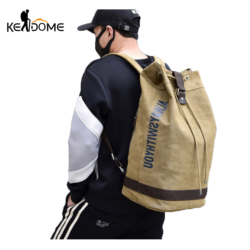 Men's Canvas Bucket Drawstring Backpack Letter Printing Army Bags Tactical Military Sports Bag Foldable Hiking Rucksack XA627WD the sports bucket list