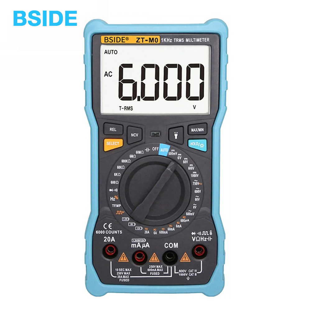 ZT M0 Smart Manual Digital Multimeter LCD Display 6000Counts Voltage Square Wave Output Capacitance Battery BSIDE