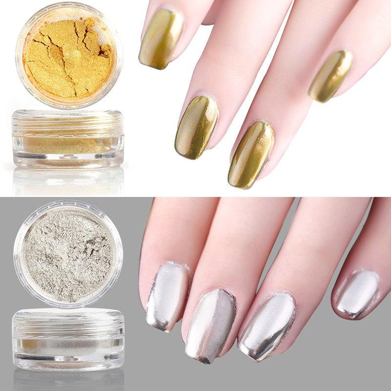 3gbox Gold Silver Nail Art Charms Acrylic Mirror Chrome Glitter
