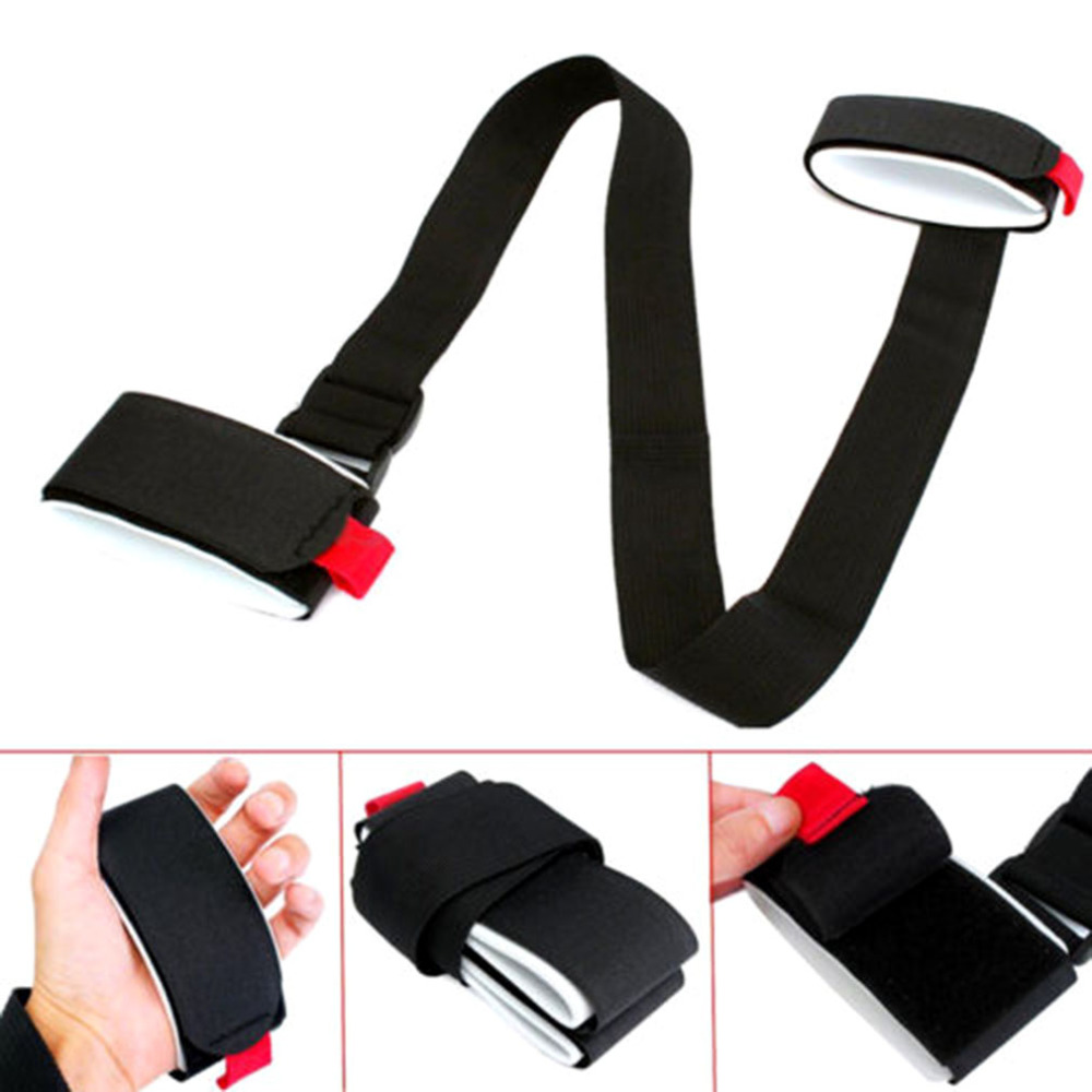 Adjustable Skiing Pole Shoulder Hand Carrier Lash Handle Straps Porter Hook Loop Protecting Black Nylon Ski Handle Strap Bags in Skiing Bags from Sports Entertainment