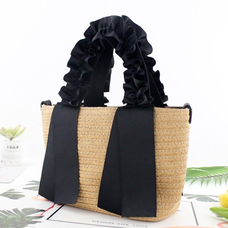 2019 Black Ribbon Portable Lace Straw Bag Single Shoulder Handbag Woven Bag New Fashion Handbag Beach Bag