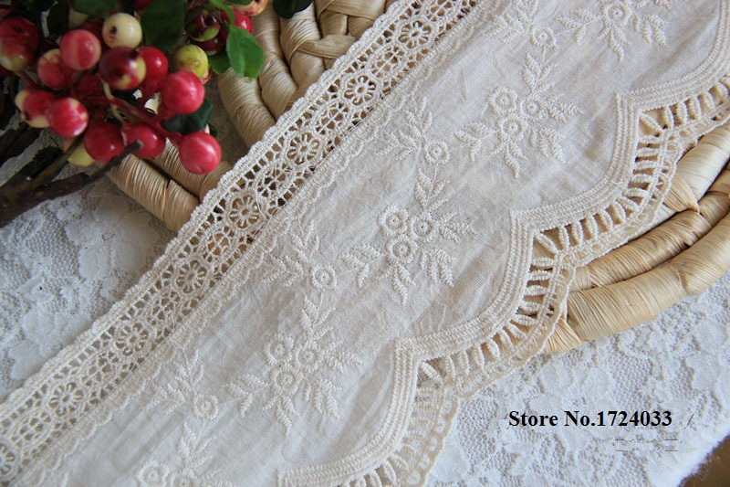 10cm Top Grade Beige Lace Cotton Embroidered Lace Trimming Floral Embroidery Lace Trims DIY Clothing Accessary 2yards/lot Z821
