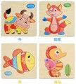 Puzzle16 Animais Shapes Jigsaw Brinquedos De Madeira Para Crianças Bebê Quente Crianças de Inteligência Brinquedos Educativos Dos Desenhos Animados Precipitação de Puzzle Brinquedo